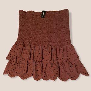 express smocked waist eyelet hem detail mini skirt